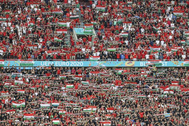 Hungary's opening Euro 2020 match against Portugal was played in front of a capacity crowd (Bernadett Szabo/AP)