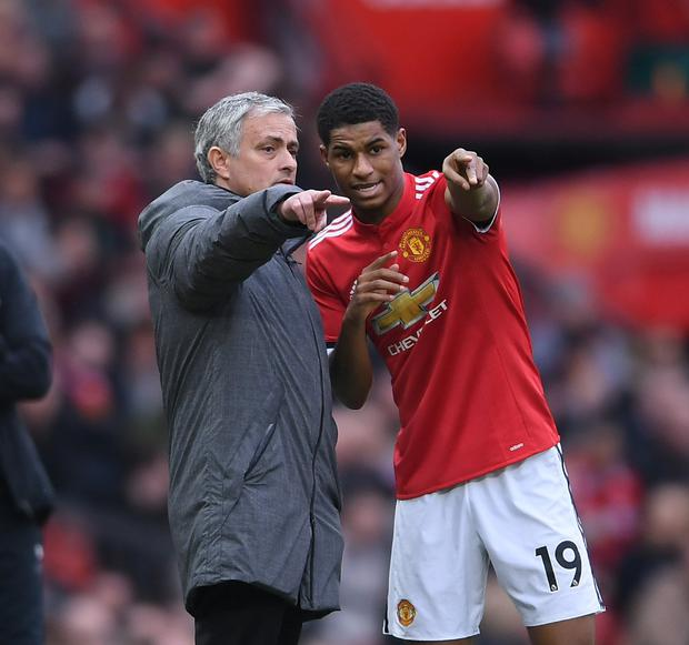 Manchester United boss Jose Mourinho gives instructions to Marcus Rashfor at Old Trafford in March 2018. Photo: Getty