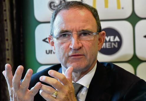 Martin O'Neill makes a point during a press conference