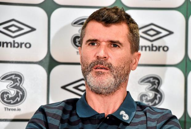 Roy Keane answers questions during a press conference yesterday