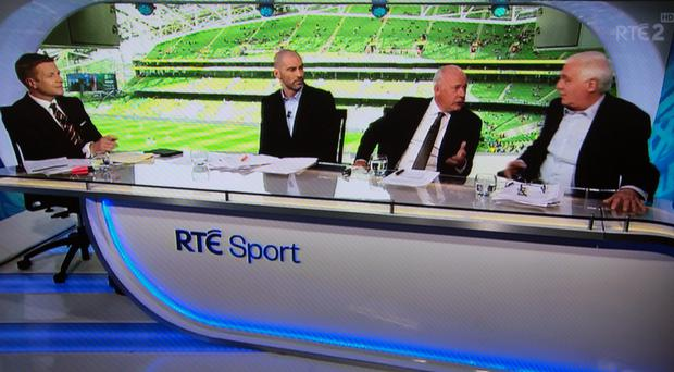 SOMETHING MISSING: Darragh Maloney, Richie Sadlier Liam Brady and Eamon Dunphy during the Scotland match