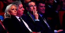 TENSE MOMENT: Republic of Ireland manager Martin O'Neill, assistant coach Roy Keane, FAI president John Delaney and his girlfriend Emma English watch the UEFA Euro 2016 Final Draw