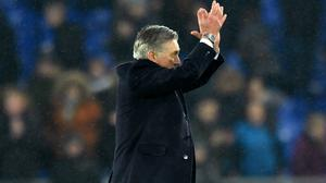 Carlo Ancelotti said he would miss the Everton fans in Sunday's derby at Goodison Park (Anthony Devlin/PA)