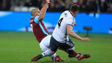 West Ham's Sofiane Feghouli, left, was sent off for a challenge on Phil Jones