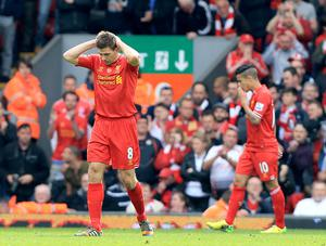 Steven Gerrard had a moment to forget against Chelsea in 2014 (Peter Byrne/PA)