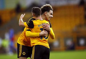 Daniel Podence celebrates his goal with fellow scorer Rayan Ait-Nouri, right (Andrew Boyers/PA)