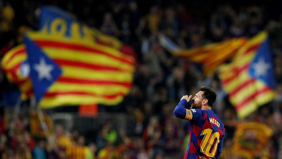 Messi in the Camp Nou in 2019. Credit: Reuters