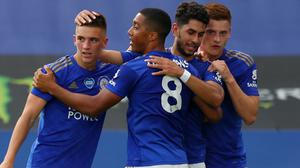 Leicester's Ayoze Perez celebrates his opener against Sheffield United (Catherine Ivill/NMC Pool/PA)