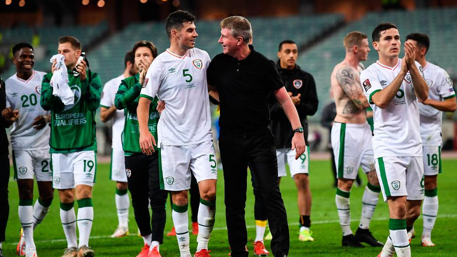 Ireland manager Stephen Kenny and captain John Egan celebrate their World Cup 2022 qualifying victory over Azerbaijan in Baku