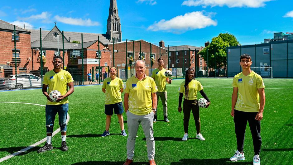 Ambassadors Brian Kerr and Michael Darragh MacAuley with, from left, Mehari Kahasay, Michelle Kane, Recreation worker, Dublin City Council, Mariama Kamari and Tareq Altourk at the launch of the Football for Unity Festival which will take place at venues across the north east inner city of Dublin next week