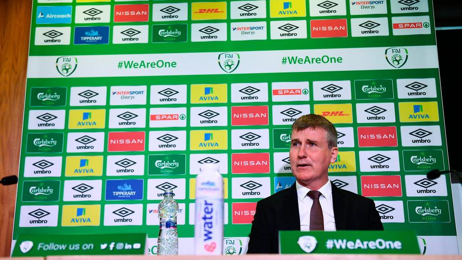 Republic of Ireland manager Stephen Kenny at yesterday's squad announcement in Abbotstown. Photo: Harry Murphy/Sportsfile