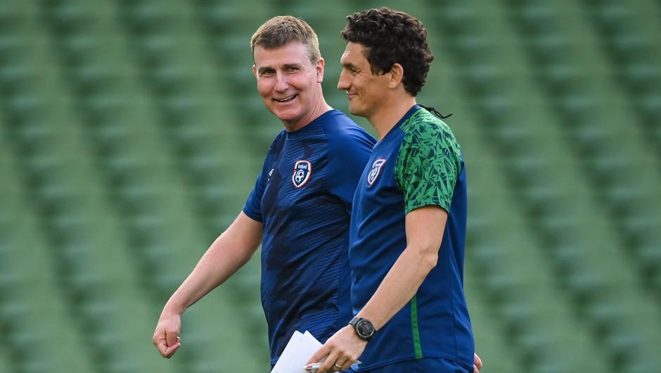 Manager Stephen Kenny, left, and coach Keith Andrews during a Ireland training session at Aviva Stadium in Dublin