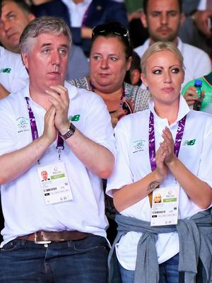 FAI boss John Delaney and Emma English at the 2015 European Games in Baku, Azerbaijan