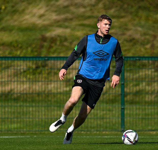 Nathan Collins during a training session at the FAI National Training Centre in Abbotstown. Photo: Stephen McCarthy/Sportsfile