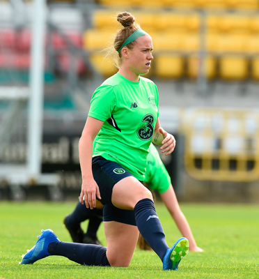 Claire O'Riordan going through her stretching routine during training at Tallaght Stadium ahead of an Irish international game.  Photo: Sportsfile
