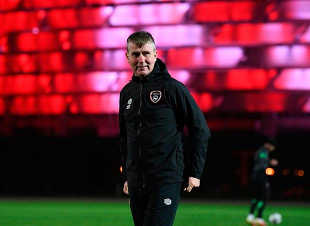 Patience is running low for Stephen Kenny, pictured at a training session in front of the Baku Olympic Stadium in Azerbaijan. Credit: Sportsfile