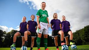 To mark the launch of Cadbury as an Official Partner of the Ireland Women's team, captain Katie McCabe is pictured with players, from left, Jadine McDonnell, Evie Bohan, Abby Croke Radley and Chloe Croke Radley, visiting her old club, Raheny United (details below). Photo by Stephen McCarthy/Sportsfile