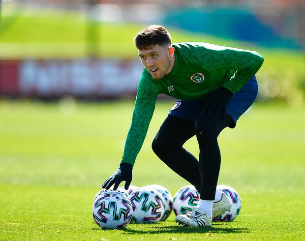 Dara O'Shea during a Republic of Ireland training session at the FAI National Training Centre in Abbotstown. Photo: Seb Daly/Sportsfile