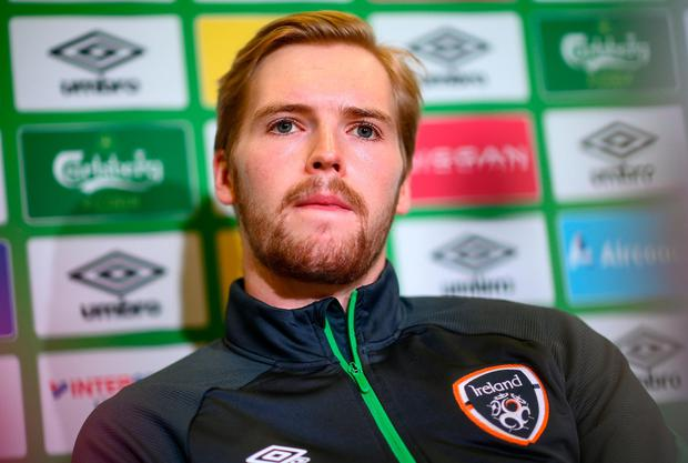 Goalkeeper Caoimhin Kelleher is pictured during an Ireland press conference at the FAI Headquarters in Abbotstown, Dublin. Photo: Stephen McCarthy/Sportsfile