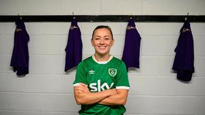 Katie McCabe pictured at the launch of Cadbury as an Official Partner of the Republic of Ireland Women's National Team. Photo: Stephen McCarthy/Sportsfile