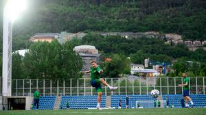 James Collins keeps his eyes on the target during Ireland's training session at Estadi Nacional in Andorra yesterday. Photo: Stephen McCARTHY/Sportsfile
