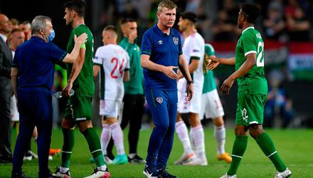 Republic of Ireland manager Stephen Kenny congratulates Chiedozie Ogbene following the international friendly draw against Hungary at Szusza Ferenc Stadion in Budapest. Photo: Alex Nicodim/Sportsfile