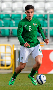 Jack Grealish playing for Ireland Under-21s in 2014