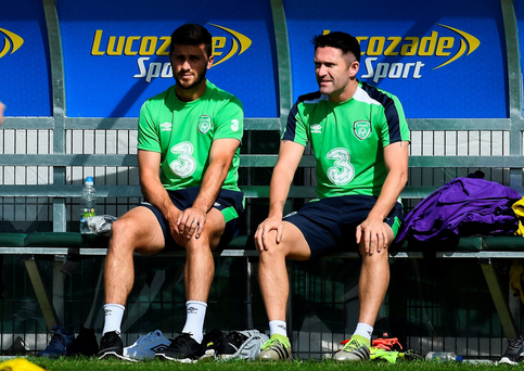 Robbie Keane and Shane Long on the bench yesterday during Ireland training in Abbotstown