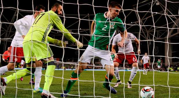 The nature of Seamus Coleman's goal against Georgia summed up Ireland's limitations in attack. Photo: David Maher