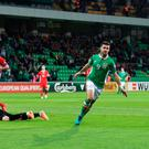 Republic of Ireland's Shane Long celebrates scoring his side's first goal Picture: PA