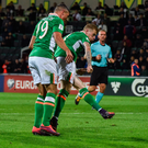James McClean shots to score Ireland's second goal in Moldova last night DAVID MAHER/SPORTSFILE