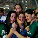 Relatives of Chapecoense soccer players cry during a memorial inside Arena Condado stadium. Photo: AP