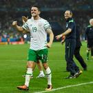 Robbie Brady and Martin O'Neill celebrate Ireland's famous victory over Italy in Lille at the European Championships. Media coverage in Italy has identified Ireland as a team to avoid when today's play-off draw is made Photo: Getty
