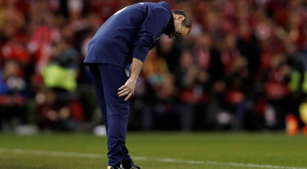 Martin O'Neill shows his dejection Photo: Reuters