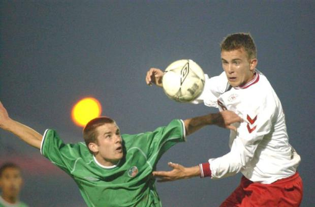 Michael Doyle in action for Ireland's U-21s against Denmark at Turners Cross in March, 2002 Photo: Sportsfile