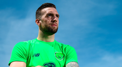 Shane Duffy ready for action at training in Belek, Turkey yesterday Photo: Sportsfile