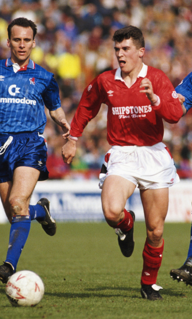 Keane in action for Forest against Chelsea in 1991. Photo: Getty
