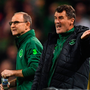 Roy Keane, in his role as Ireland assistant manager, with Martin O'Neill during Ireland's Nations League game against Wales last October. Photo: Brendan Moran/Sportsfile