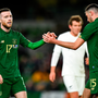 Jack Byrne and Troy Parrott during last night's friendly victory against New Zealand. Photo: Sportsfile