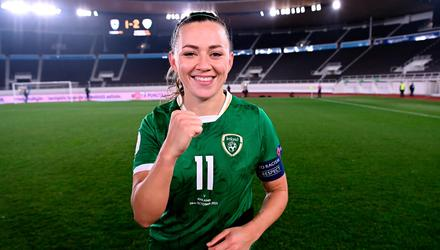 Republic of Ireland's Katie McCabe celebrates after her side's victory in the FIFA Women's World Cup 2023 qualifying group A match against Finland at Helsinki Olympic Stadium. Photo: Stephen McCarthy/Sportsfile