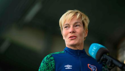 Manager Vera Pauw speaks to media before a Republic of Ireland training session at Tallaght Stadium in Dublin. Photo by Stephen McCarthy/Sportsfile