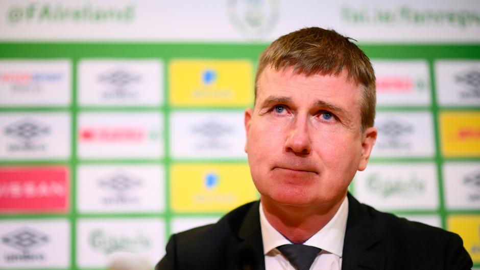 Stephen Kenny during his Republic of Ireland squad announcement last week at FAI Headquarters in Abbotstown. Photo: Stephen McCarthy/Sportsfile