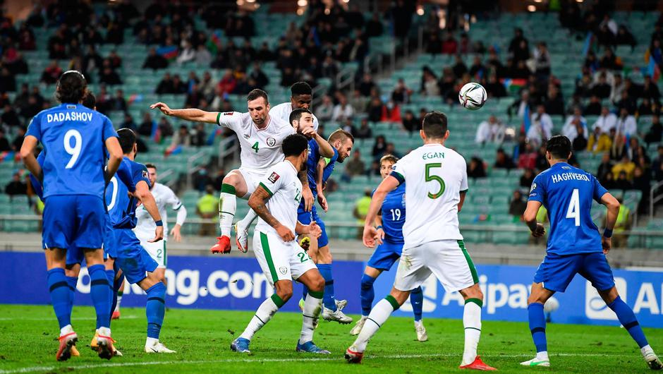 Chiedozie Ogbene heads home Ireland's third goal in the World Cup 2022 qualifying Group A win over Azerbaijan in Baku, Azerbaijan. Photo by Stephen McCarthy/Sportsfile