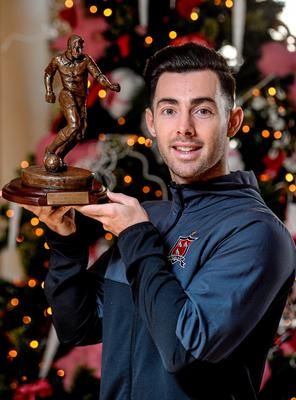 Dundalk hero Richie Towell with his SSE/SWAI Airtricity Player of the Month Award for November at the Davenport Hotel, Merrion Square