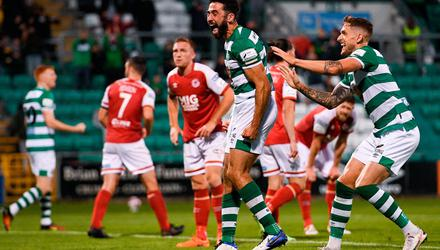 Roberto Lopes of Shamrock Rovers celebrates after scoring his side's second goal during the SSE Airtricity League Premier Division match against St Patrick's Athletic at Tallaght Stadium. Photo: Eóin Noonan/Sportsfile