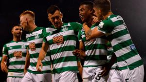 Aidomo Emakhu of Shamrock Rovers, second from right, celebrates with team-mates Lee Grace, right, and Aaron Greene after scoring his side's winner at Tallaght. Credit: Eoin Noonan/Sportsfile