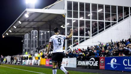Patrick Hoban celebrates with the fans after scoring his side's second goal against Bohemians recently at Oriel Park. Photo by Ben McShane/Sportsfile