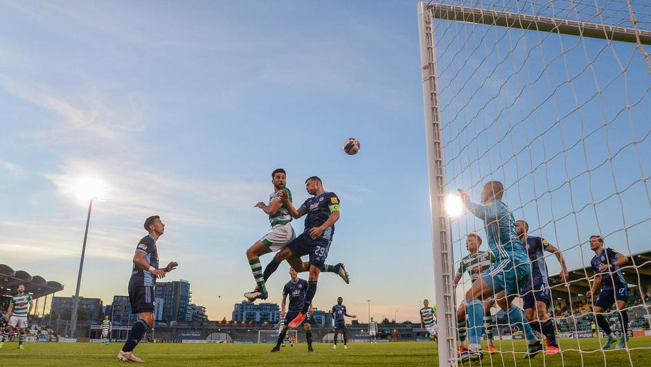 Shamrock Rovers' Roberto Lopes has a header on goal despite the attention of Lukás Pauschek of Slovan Bratislava during the UEFA Champions League first qualifying round second leg match at Tallaght Stadium. Photo: Stephen McCarthy/ Sportsfile