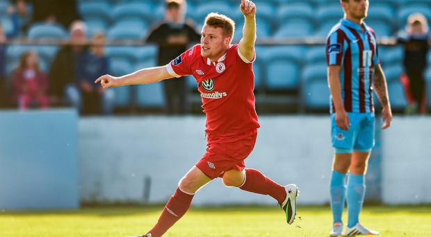 Danny North, Sligo Rovers, celebrates after scoring his side's first goal
