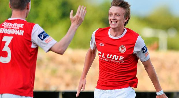 St. Patricks Athletic's Chris Forrester, right, celebrates after scoring his side's first goal with team-mate Ian Bermingham